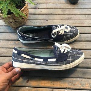 Keds ortholite Navy plaid slip on shoes size 8